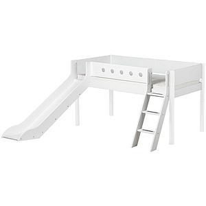 WHITE by Flexa Lit Classic mi-hauteur en MDF 90x190 cm avec échelle inclinée, toboggan, barrière de sécurité blanc et pieds blanc
