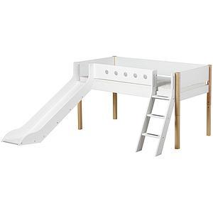 WHITE by Flexa Lit Classic mi-hauteur en MDF 90x190 cm avec échelle inclinée, toboggan, barrière de sécurité blanc et pieds bouleau