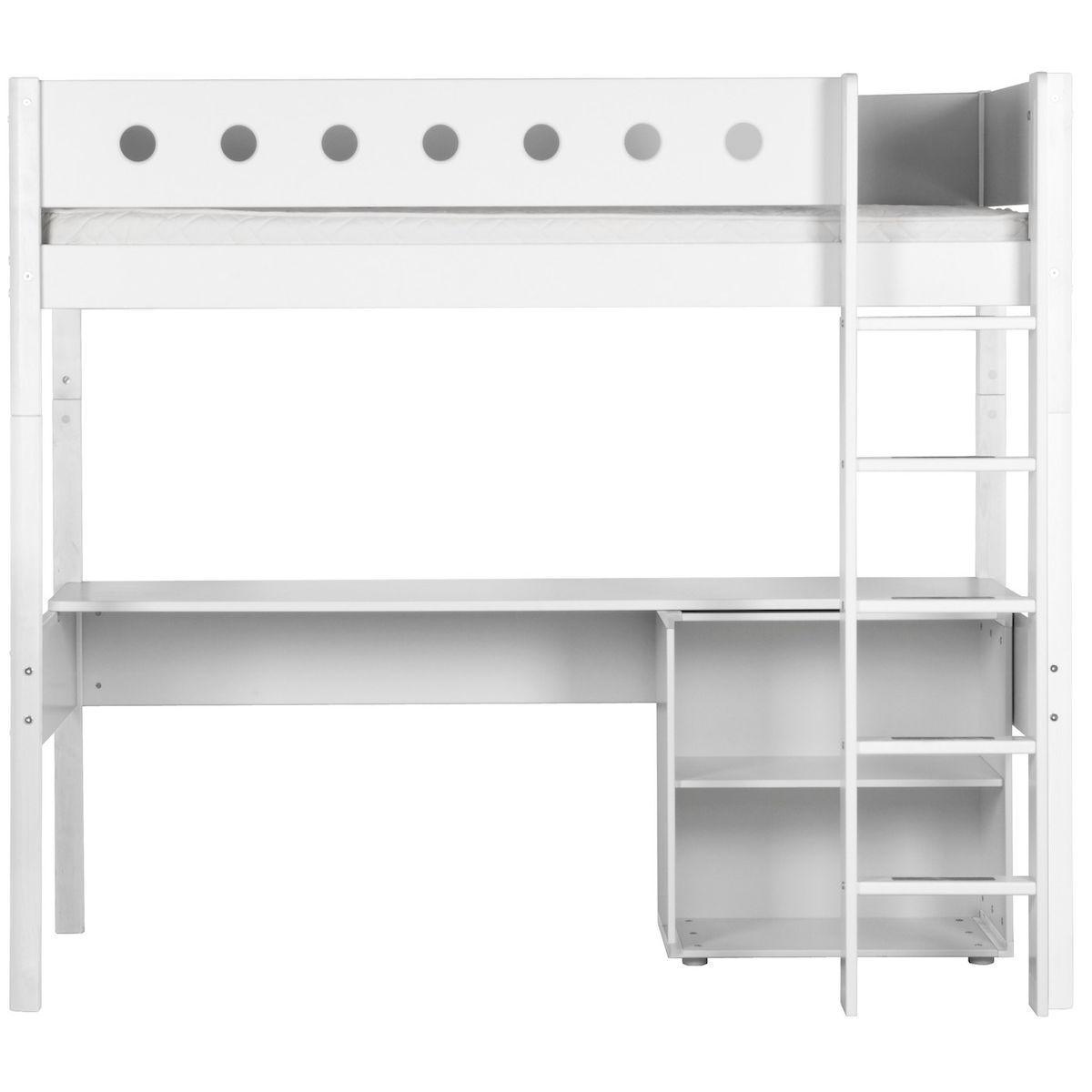 WHITE by Flexa Lit mezzanine en MDF 90x190 cm avec barrière de sécurité blanche et pieds blancs