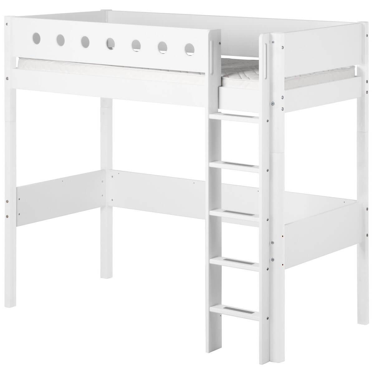 WHITE by Flexa Lit mezzanine en MDF 90x200 cm avec barrière de sécurité blanche et pieds blancs