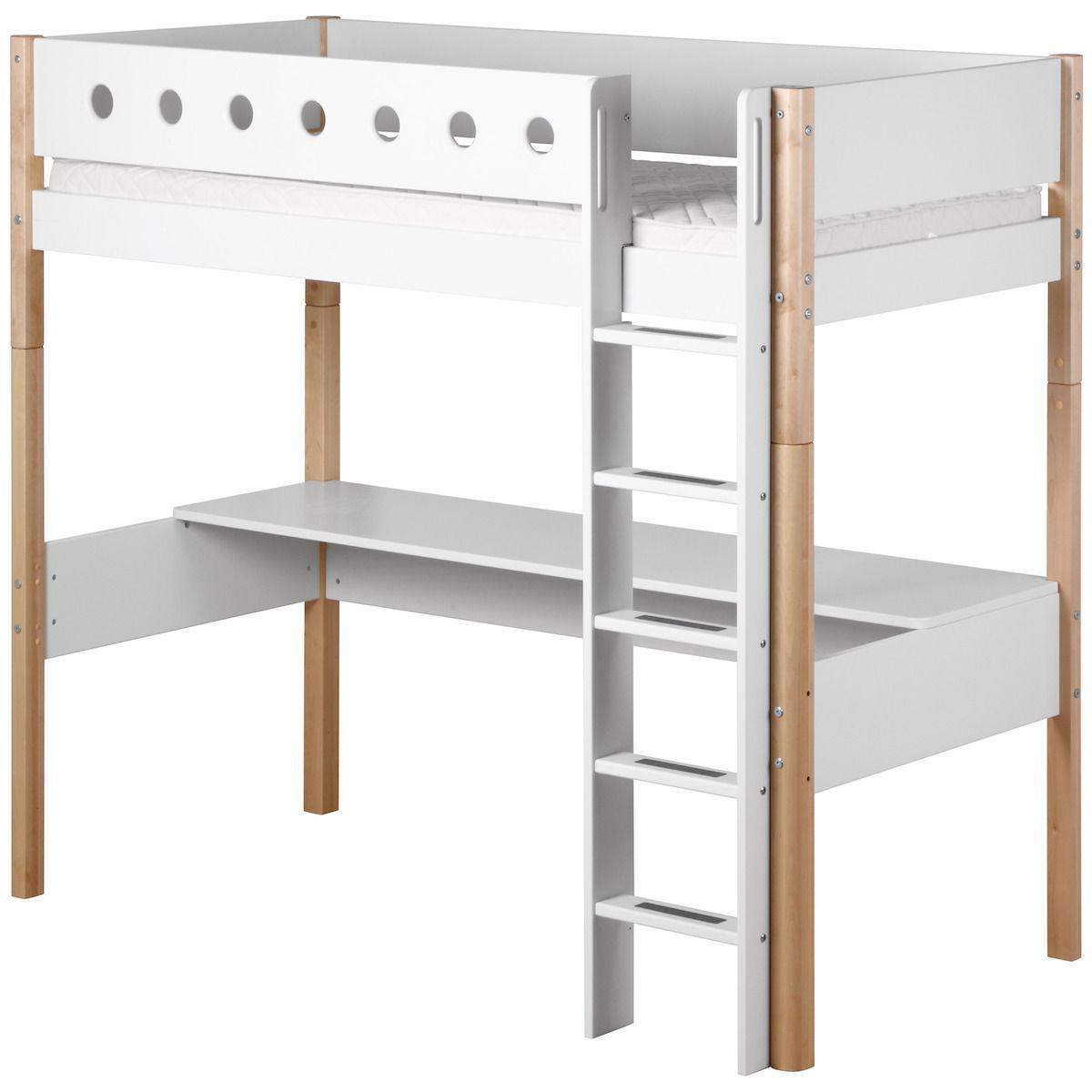 WHITE by Flexa Lit mezzanine en MDF 90x200 cm avec barrière de sécurité blanche et pieds bouleau