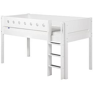 WHITE by Flexa Lit mi-hauteur en MDF 90x190 cm avec barrière de sécurité blanche et pieds blancs