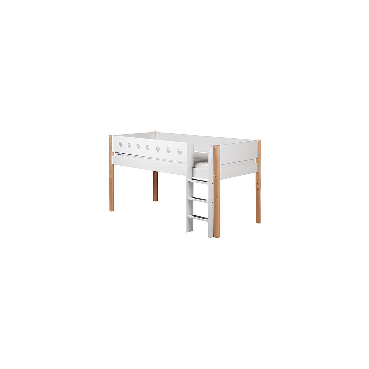 WHITE by Flexa Lit mi-hauteur en MDF 90x190 cm avec barrière de sécurité blanche et pieds en bouleau naturel