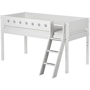 WHITE by Flexa Lit mi-hauteur en MDF 90x200 cm avec échelle inclinée, barrière de sécurité blanche et pieds blancs