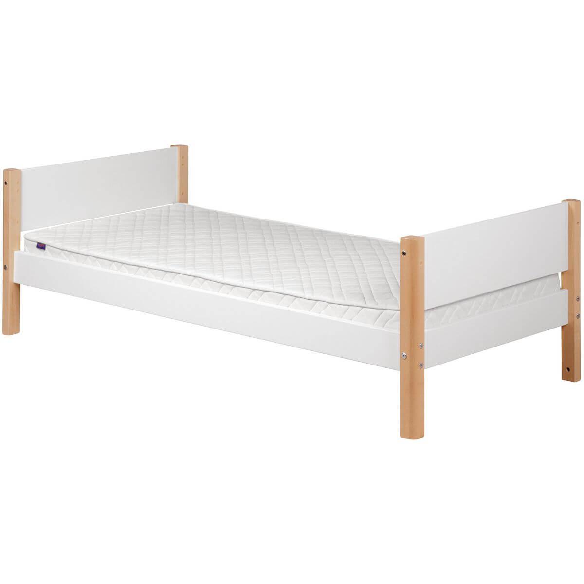 WHITE by Flexa Lit simple 90x190 cm en MDF avec pieds en bouleau