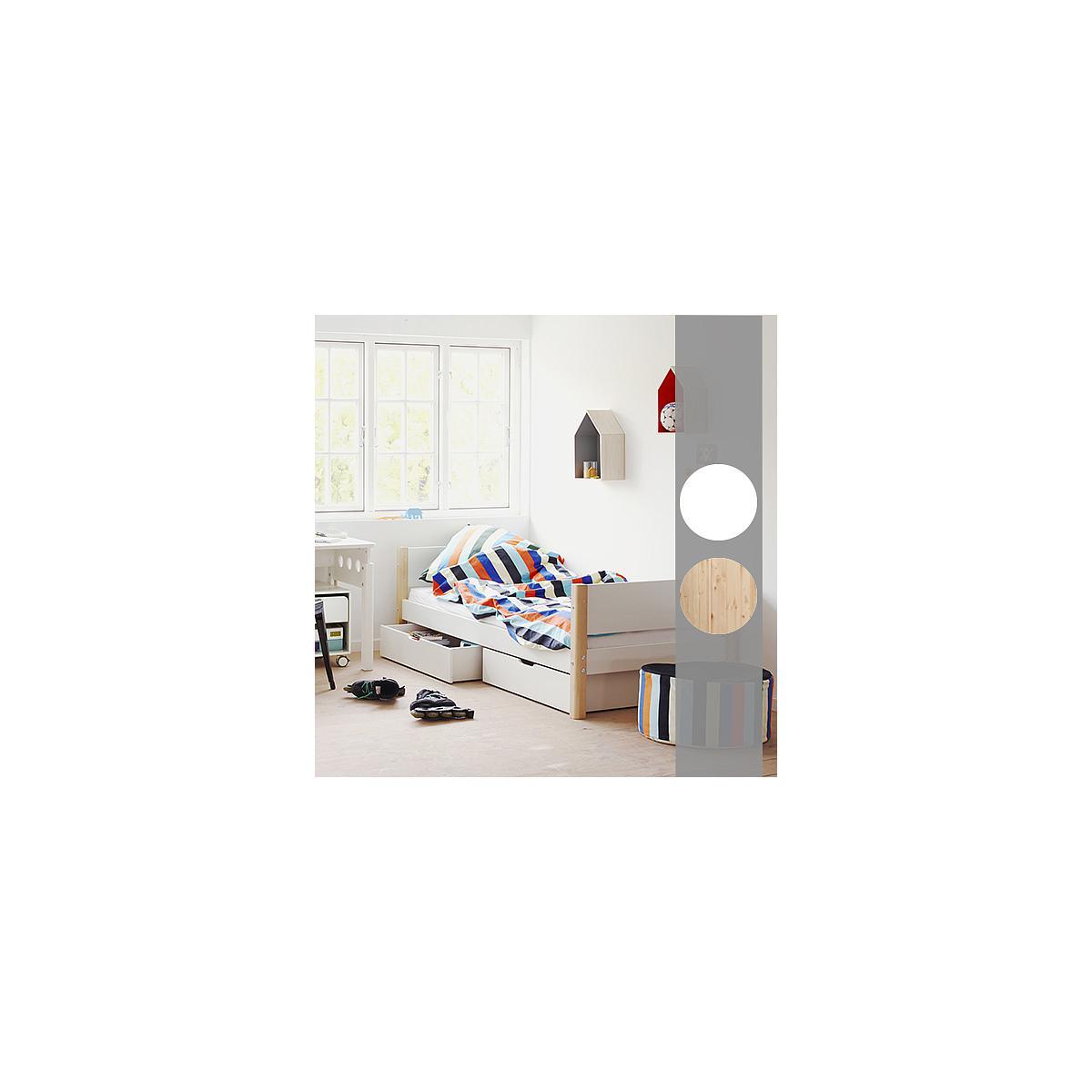 WHITE by Flexa Lit simple 90x200 cm en MDF avec pieds en blanc