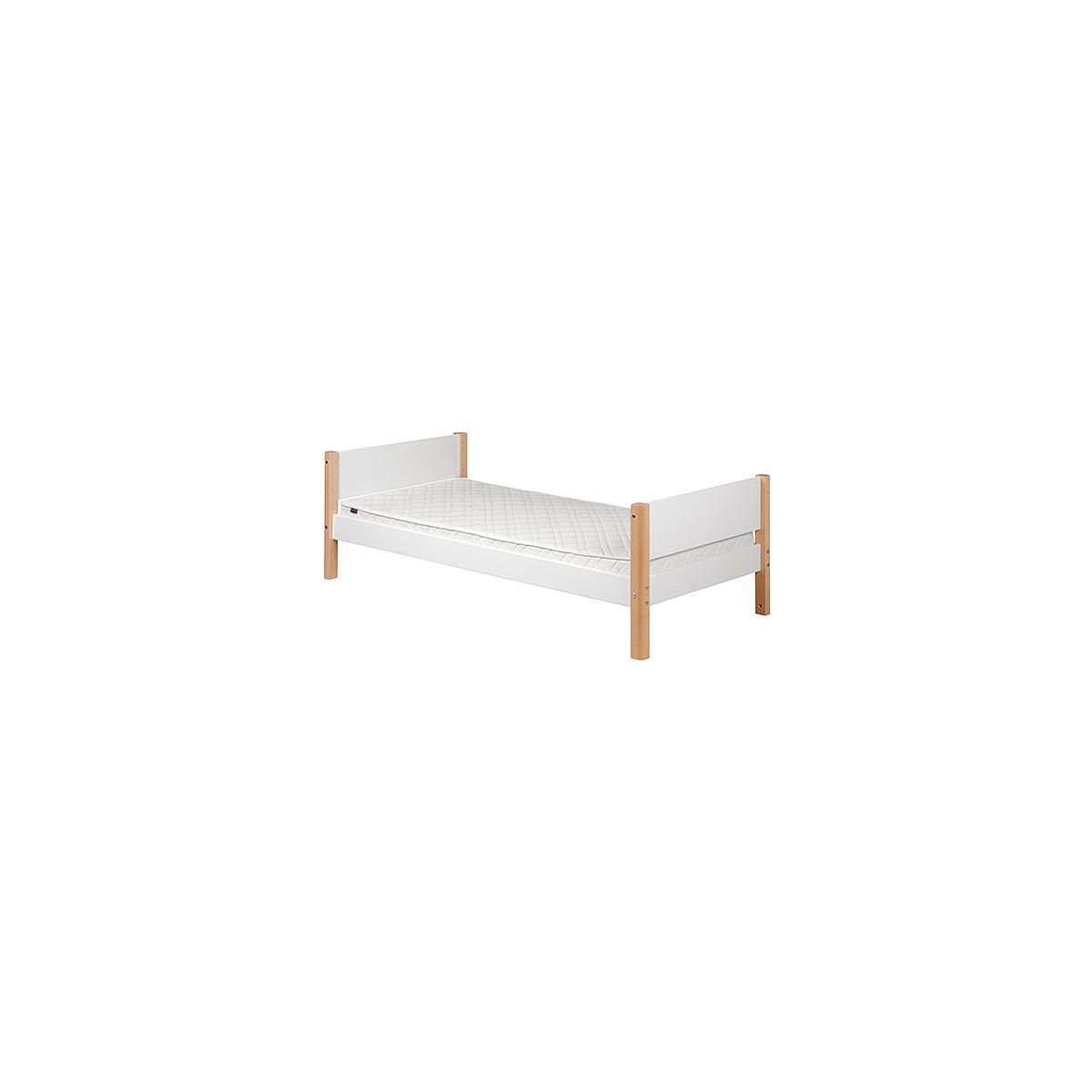 WHITE by Flexa Lit simple 90x200 cm en MDF avec pieds en bouleau