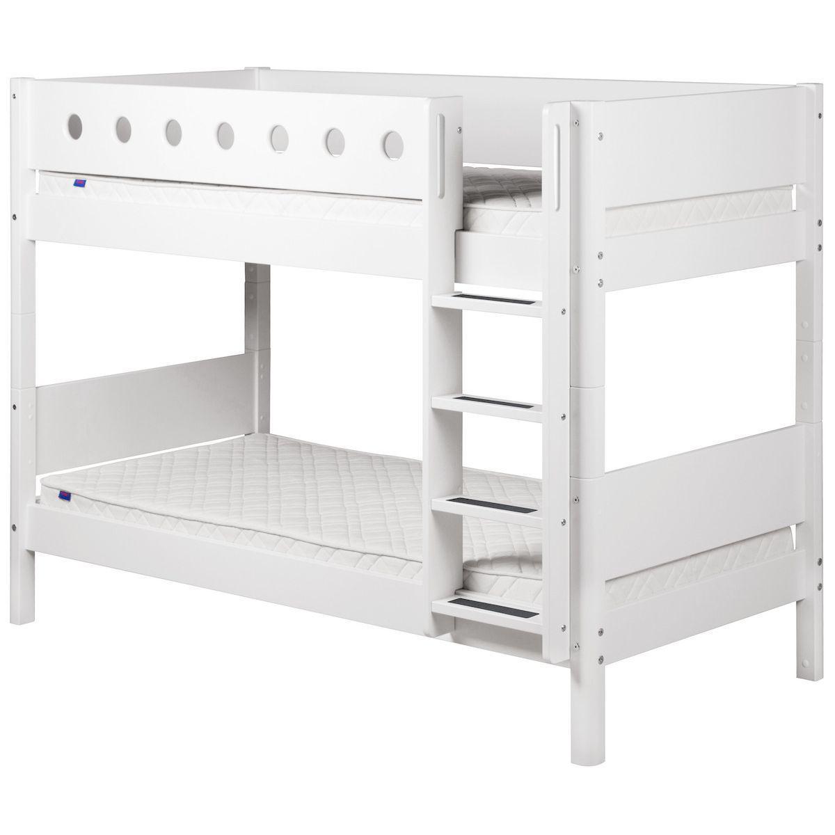 WHITE by Flexa Lits superposés en MDF 90x190 cm avec barrière de sécurité blanche et pieds blancs